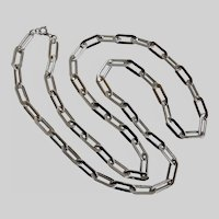 Crown Trifari Elongated Links Silvertone Chain Necklace, 40 Inches