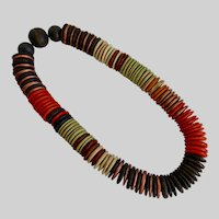 Multicolored Wood Discs Choker Necklace