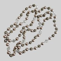 Long Art Deco Flapper Necklace of Light Mocha Faux Pearls, Crystal, and Rhinestones, 54""