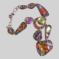 Opulent Long Resin Necklace with Faceted Multi Colored Stones
