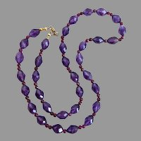 Necklace of Fine Quality Vintage Faceted Amethyst Beads with Earrings, 23""