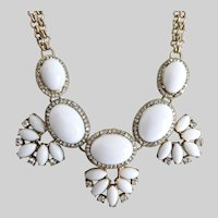 Pretty White and Gold Tone Floral Necklace