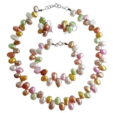 Multi Colored Pastel Freshwater Cultured Pearls Necklace, Bracelet and Earrings