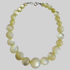 Soft Pale Yellow Choker Necklace of Graduated Moonglow Beads