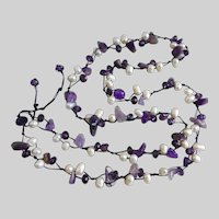 Amethyst, Freshwater Pearls and Crystal Artisan Necklace, 36""