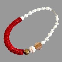 Cheery Vintage Necklace of Red Coco Discs and White Glass Beads, 22""