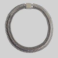 Sleek Modernist Dark Silver tone Link Choker Necklace