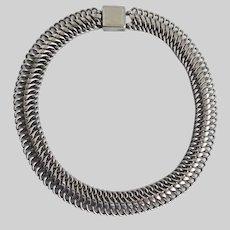 Sleek Modernist Dark Silver tone Link Choker Necklace