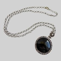 Black Stone Pendant with Grey Marcasites