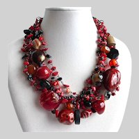 Six Strand Mixed Media Necklace of Red and Black Beads