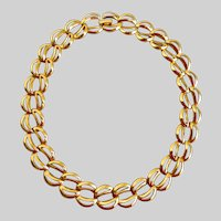NAPIER Gold Tone Double Links Choker Necklace, 16""