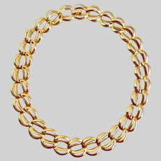 "NAPIER Gold Tone Double Links Choker Necklace, 16"""
