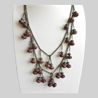"Funky, Kooky, Double Strand Necklace of Patinated ""Pumpkin"" Beads, 25"""