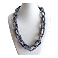 Necklace of Grey Glass Seed Beaded Links