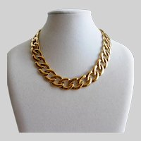 NAPIER  Gold Tone Large Link Choker Necklace, 16.5""