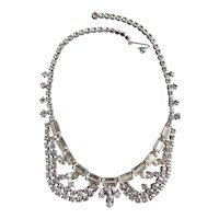 Peter Pan Collar Clear Rhinestone Choker Necklace 1950's