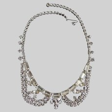 Peter Pan Collar Clear Rhinestone Choker Necklace 1950's