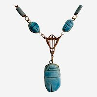Vintage Necklace of Egyptian Faience Ceramic Scarabs