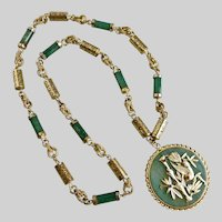 Green Aventurine Quartz Pendant Necklace with Asian Styling