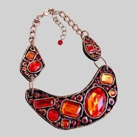 Opulent Asymmetrical Resin Sections of Varying Shades of Red Stones with Earrings