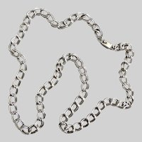 "Sterling Silver Mexican Double Link Chain Necklace, 28"" 61g,  Unisex"