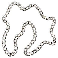 """Sterling Silver Mexican Double Link Chain Necklace, 28"""" 61g,  Unisex"""