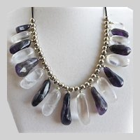 Fun Bib Necklace of Deep Amethyst and Clear Quartz Drops