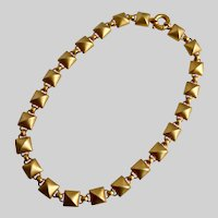 Cool Necklace of Puffed Squares in Matte Gold Tone, 18""