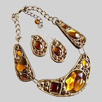 Three Section Resin Necklace of Honey and Amber Colored Stones with Earrings