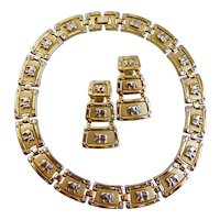 Silver Tone Elephants on Gold Tone Plaques with Clip Earrings