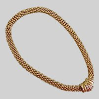 Gold Tone Necklace of Nubby Mesh with Magnetic Closure, 18""