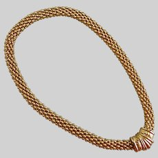 """Gold Tone Necklace of Nubby Mesh with Magnetic Closure, 18"""""""