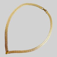 "NAPIER Classic and Sleek ""V"" Herringbone Necklace, Gold Tone"