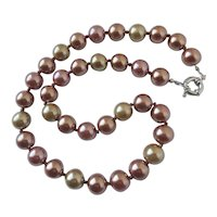 Necklace of Cocoa and Beige Glass Faux Pearls, 23""