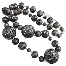 "Gunmetal Finish  Necklace of Outrageously Large Filigree Beads,  38"""