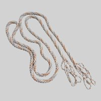 Long Flapper Necklace of Tiny Pastel Faux Seed Pearls, 54""