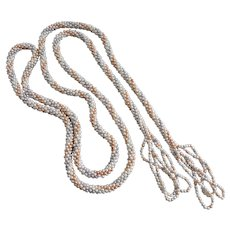 """Long Flapper Necklace of Tiny Pastel Faux Seed Pearls, 54"""""""