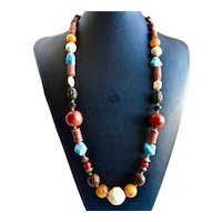 Colorful Necklace of Mixed Media Beads, 30""
