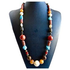 """Colorful Necklace of Mixed Media Beads, 30"""""""