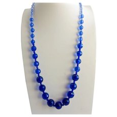 Long Necklace of Ombré Blue Faceted Acrylic Beads, Continuous Strand