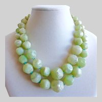 Vintage Double Strand Choker Necklace of Marbled Light Green Beads