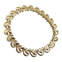 Rich Gold Tone Choker Necklace with Snap Closure