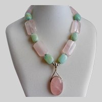 Sterling Silver Pendant Necklace of Natural Rose Quartz and Amazonite, 18""