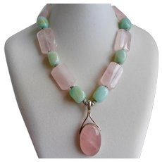 """Sterling Silver Pendant Necklace of Natural Rose Quartz and Amazonite, 18"""""""