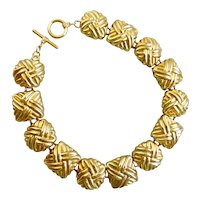 Chunky Gold Tone Choker of Square and Oval Textured Links, 16""