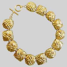 """Chunky Gold Tone Choker of Square and Oval Textured Links, 16"""""""