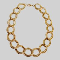 Gold Tone Chain Necklace of Large Textured Double Links, 19""