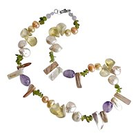 """Pastel Colored Necklace of Freshwater Pearls, Amethyst, Peridot and Citrine, 19"""""""