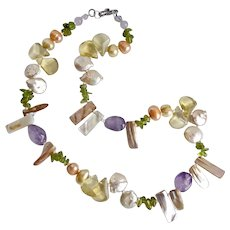 Pastel Colored Necklace of Freshwater Pearls, Amethyst, Peridot and Citrine, 19""
