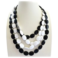 Long Double Strand Necklace of Black and White Oval Faceted Acrylics, 52""